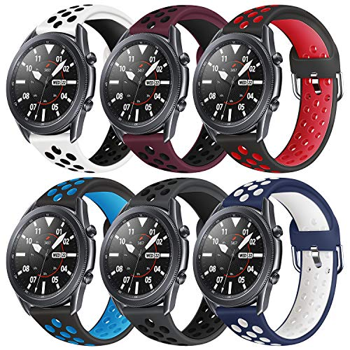 Sycreek Kompatibel für Samsung Gear S3 Armband 22mm Sportarmband für Galaxy Watch 46mm/Galaxy Watch 3 45mm Silikon Zweifarbiges Ersatz Uhrenarmbänder Kompatibel für Huawei Watch GT 46mm