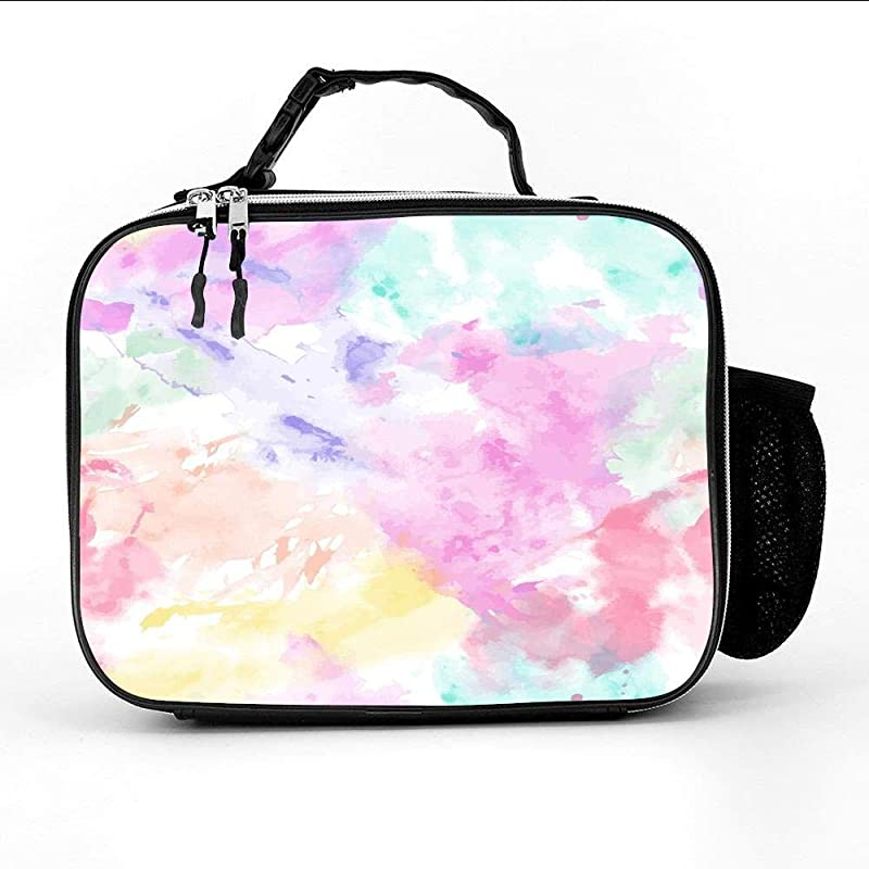Rainbow Ombre Clouds Insulated Neoprene Lunch Bag Lunch Box Lunch Tote Picnic Bag Cooler Warm Pouch Handbag Gourmet Food Containers