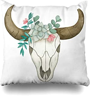 Ahawoso Throw Pillow Cover Square 20x20 Tattoo Nature Bone Watercolor Skull Bull Broken Horn Succulent Animals Wildlife Cow Drawing Floral Decorative Pillowcase Home Decor Zippered Cushion Case