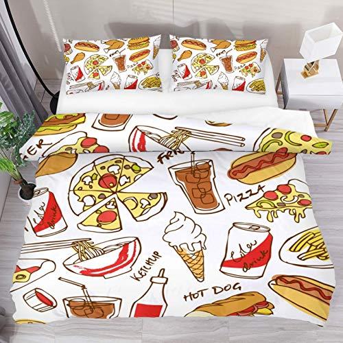 Juego de 3 fundas nórdicas de comida rápida Pizza Hamburg Hot Dog con diseño de perro caliente, funda de edredón de microfibra doble ultra suave con cierre de cremallera y 2 fundas de almohada