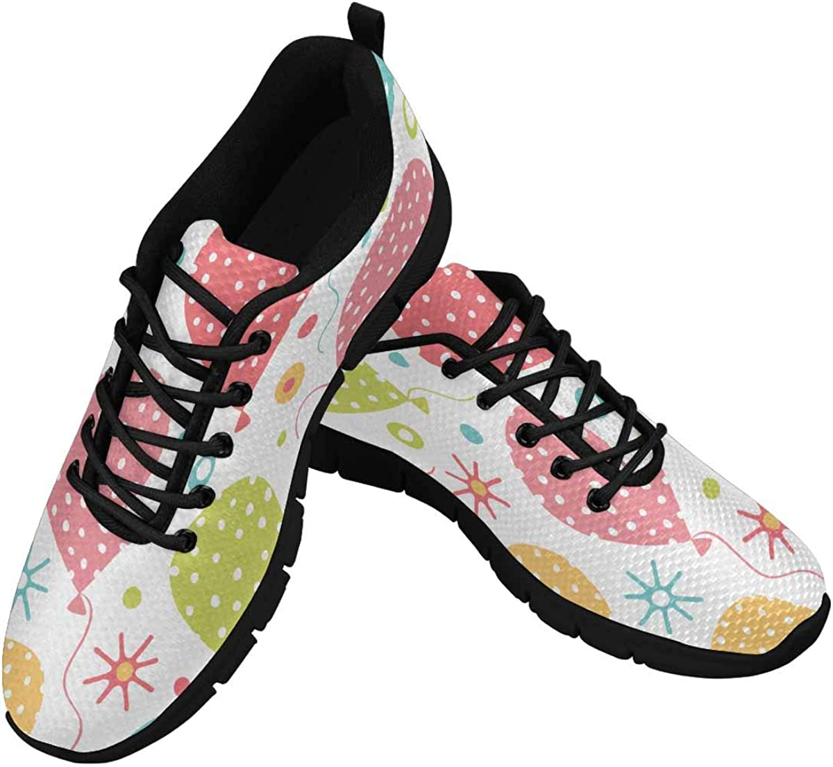 InterestPrint Retro Background with Party Balloons Women's Athletic Walking Shoes Casual Mesh Comfortable Work Sneakers