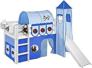 Lilokids Ensemble de lit JELLE Dragons bleu avec toboggan - Lit mezzanine blanc - Avec rideau, tour, tunnel et sacs