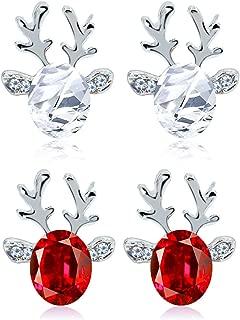 Christmas Earrings Studs, SURBEAV 2 Pack Christmas Crystal Reindeer Stud Earrings Set for Women Girls Gifts