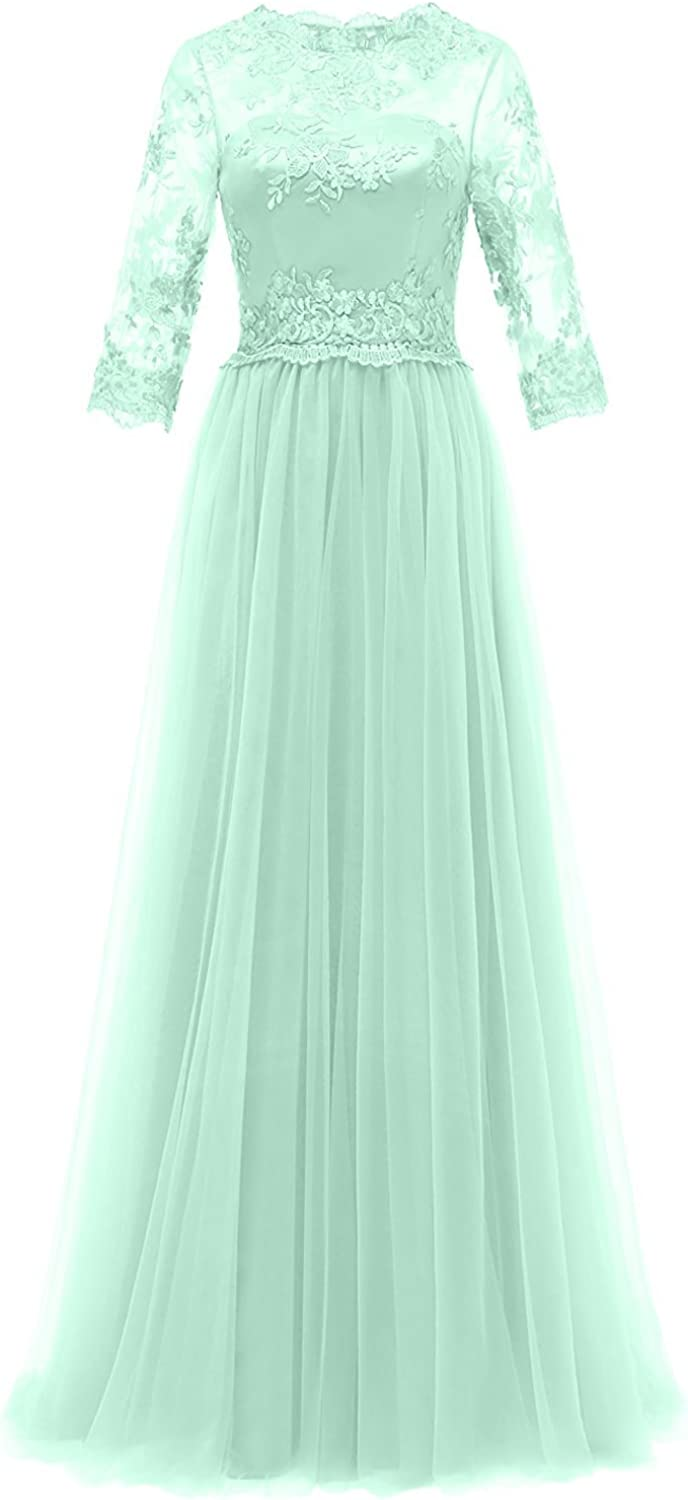 QY Bride Long Mother of The Bride Dresses with Half Sleeve Prom Gown