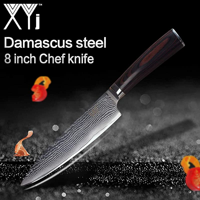 XYJ Japanese Damascus Kitchen Knife Cutlery Knives 8 Inch Chef Knife Color Wood Handle Santoku Slicing Knife Cooking Tools