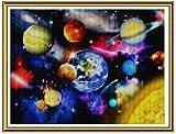 Reofrey Diamond Painting 5D Pintura Diamante Universo Planeta Bricolaje Completo Taladro Arte, Diamantes Imitación Bordado Pegatinas de Pared Decoración de La sala 40x50cm