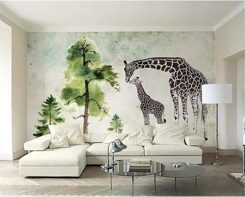 Meaosy Baumgiraffensofafernsehhintergrundwand-Wohnzimmerschlafzimmerwandbilder 3D Des Kundenspezifischen Tapetenaquarellgrüns Grünes 3D-280X200Cm