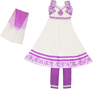 Zaffron Girls' Elegant Cotton Indian Salwaar Kameez Party 3 Piece Dress Suit Set 4 to 11 Years Sizes
