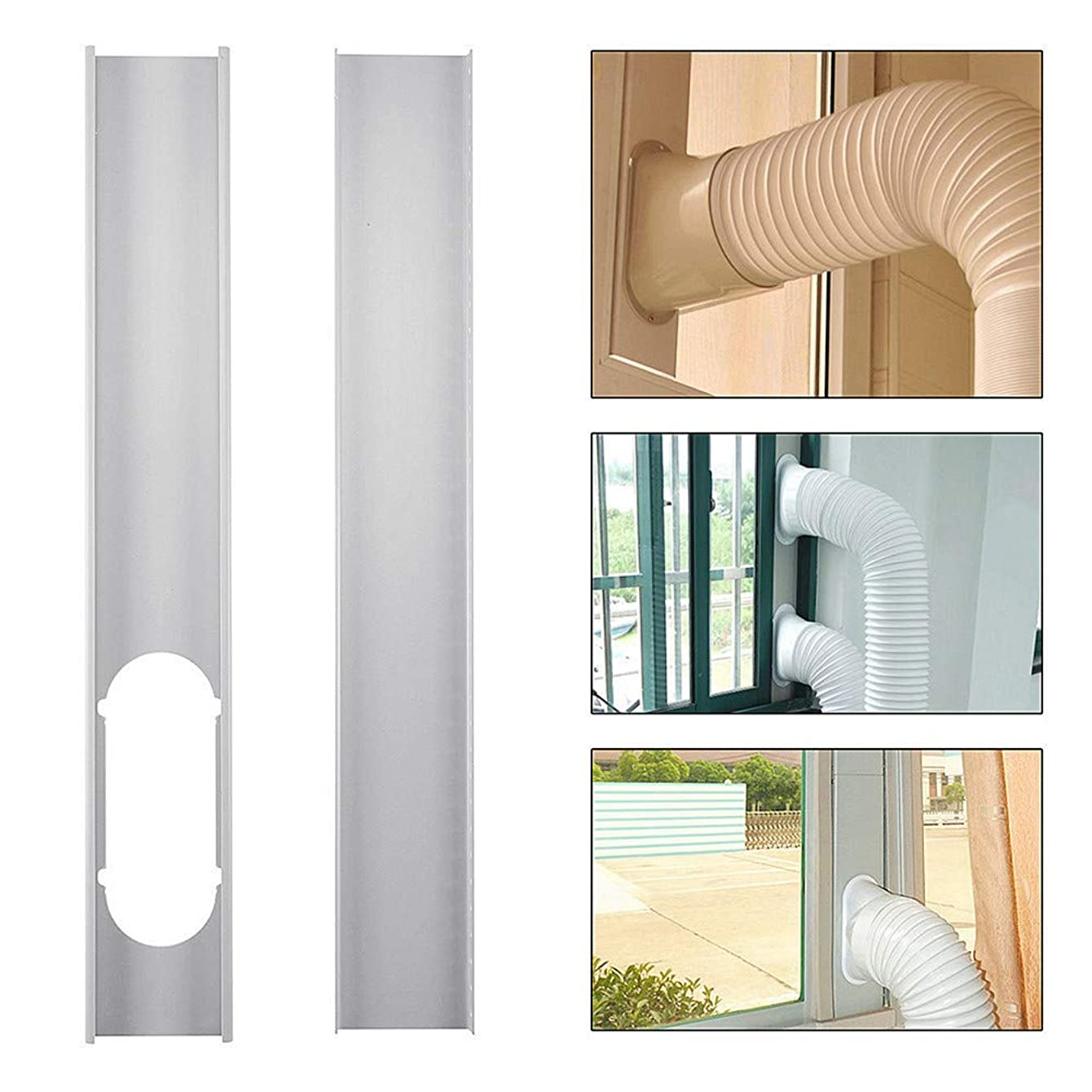 Hi5Ashley Adjustable Window Slide Kit Plate Air Conditioner Wind Shield for Portable Air Conditioner, 2 Pieces