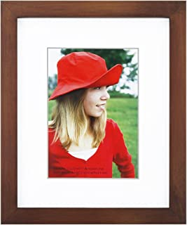 RPJC 8x10 inch Picture Frame Made of Solid Wood and High Definition Glass Display Pictures 5x7 with Mat or 8x10 Without Mat for Wall Mounting Photo Frame Brown