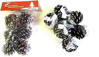 クリスマス装飾・手芸装飾 松ぼっくり(シルバーリボン・つるし紐付・表面シルバー塗装)6個セット
