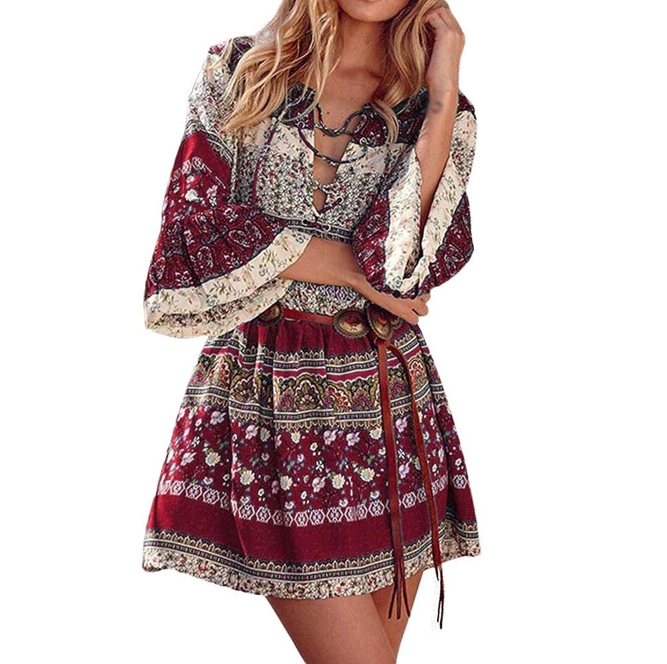 Women's Floral Print Dress Boho Long Sleevees Dress Casual Evening Party Dress