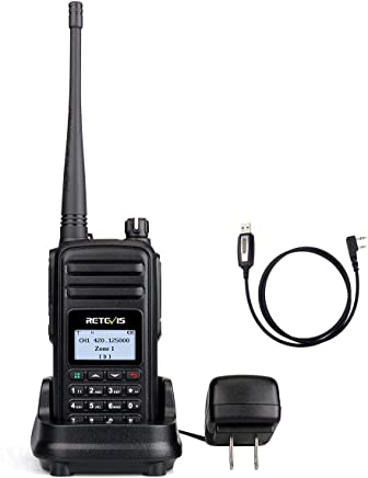 Retevis RT80 DMR Two-Way Radio Long Range 999 Channel Digital Analog Ham Amateur Radio UHF Encryption Group Call 1500mAh Li-ionRechargeable Battery with Color LCD (1 Pack)