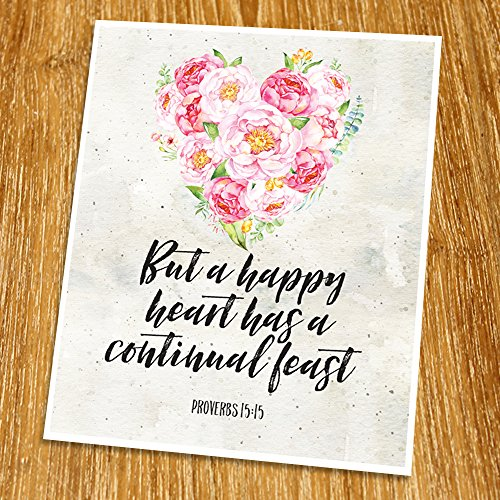 Proverbs 15:15 But a happy heart has a continual feast Print (Unframed), Wedding bible verse, Scripture Print, Love quote, Christian Wall Art, Church decor, 8x10', TC-088