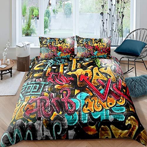 Loussiesd Hippie Graffiti Bed Linen Boys Teenager Hip Hop Street Culture Bed Linen Set 135 x 200 cm Children's Wall Graffiti Art Duvet Cover Graffiti Pattern Bed Set with 1 Pillowcase 80 x 80 cm