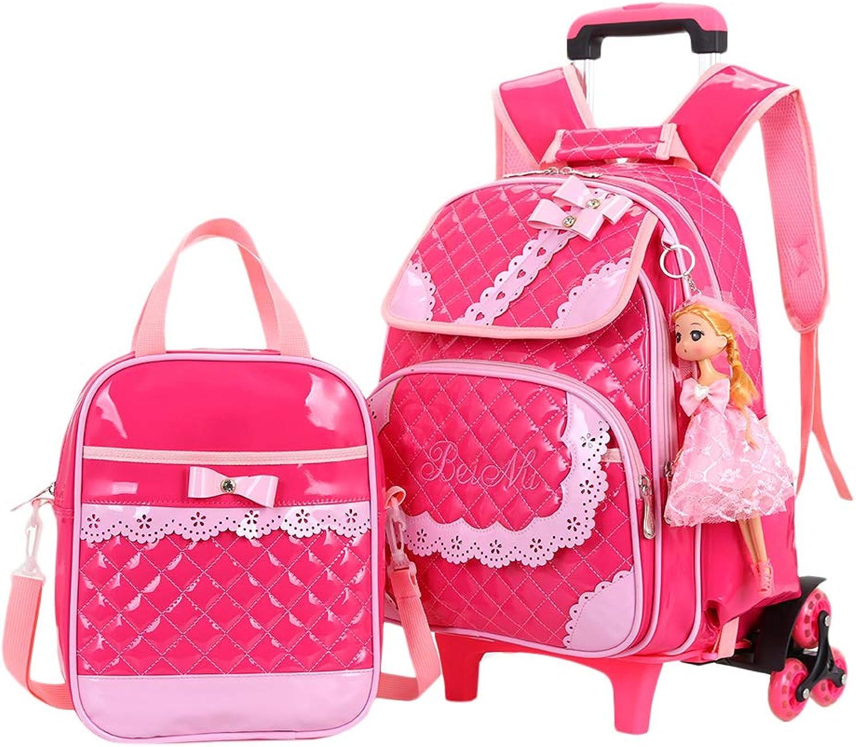 Besbomig Kinder Schultasche Studenten Tagesrucksack Trolley-Rucksack mit Rder - Grundstufe Mdchen Draussen Reise Rollen Büchertasche