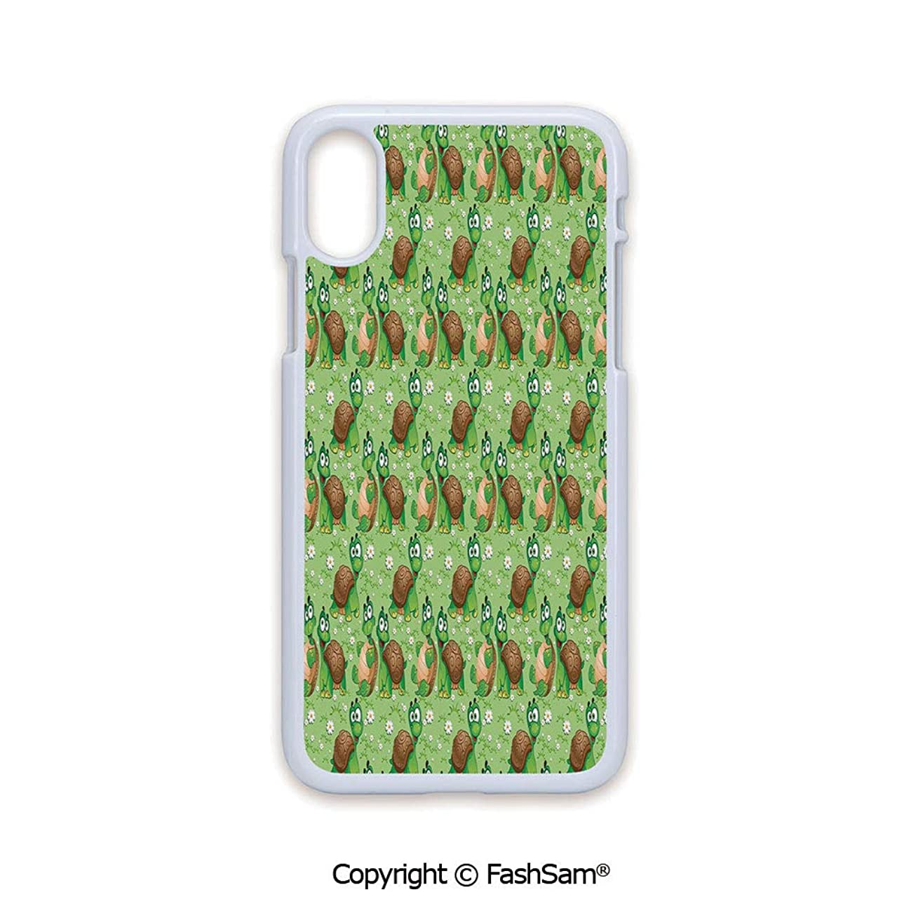 Plastic Rigid Mobile Phone case Compatible with iPhone X Black Edge Pattern with Cartoon Funny Turtles on Green Spring Meadow with Daisies Decorative 2D Print Hard Plastic Phone Case