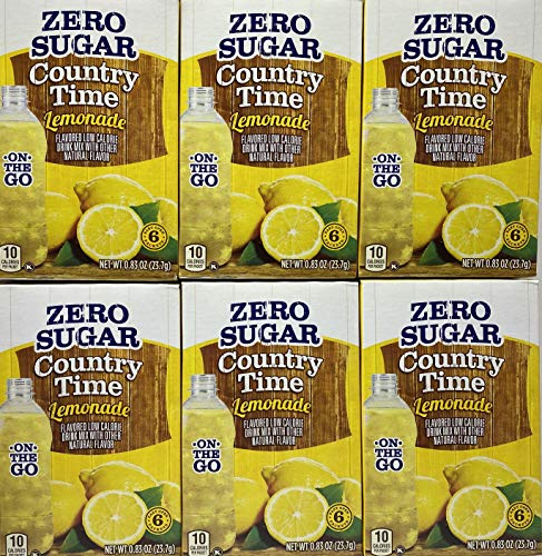 Country Time Lemonade Sugar Free On the Go! 6 Packets Powder (Pack of 6) Gluten Free