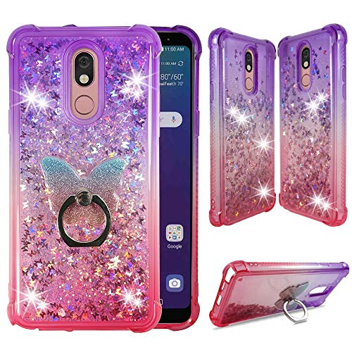 ZASE Design Case for LG Stylo 5, Stylo 5V, Stylo 5X, Stylo 5+ Liquid Glitter Bling Cute Protective Cover 3D Waterfall Butterflies Quicksand Shockproof Bumper w/Phone Ring Holder (Gradient Purple Pink)