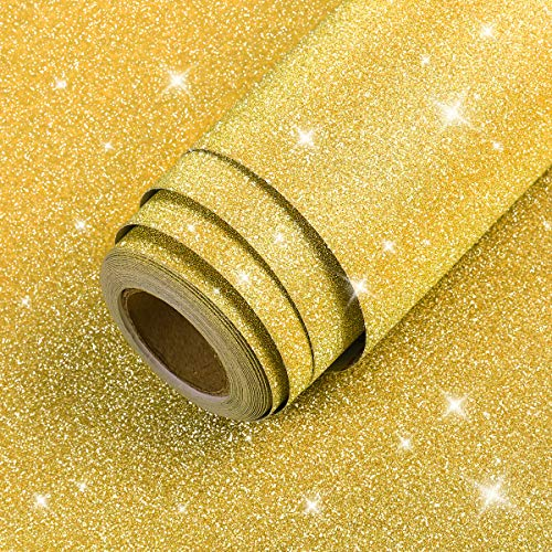 LaCheery 12'x160' Gold Glitter Wallpaper Stick and Peel Gold Contact Paper...