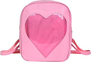 Goodbag Clear Candy Ita Bag Transparent Love Heart Backpack Casual Cute Backpacks for Women(Pink)