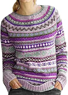 Women Knit Tops Print Long Sleeve Sweater Tunic Shirts Pullover