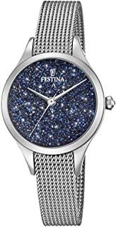Festina Women's Quartz Mademoiselle Swarovski Blue Dial Analog Wrist Watch for Women with Silver Case and Silver Mesh Strap analog Display and Stainless Steel Strap, F20336-2