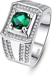 Empsoul 925 Sterling Silver Created Round Emerald Quartz Cubic Zirconia Pave Diamond Square Shape Eternity Mystic Wedding ...