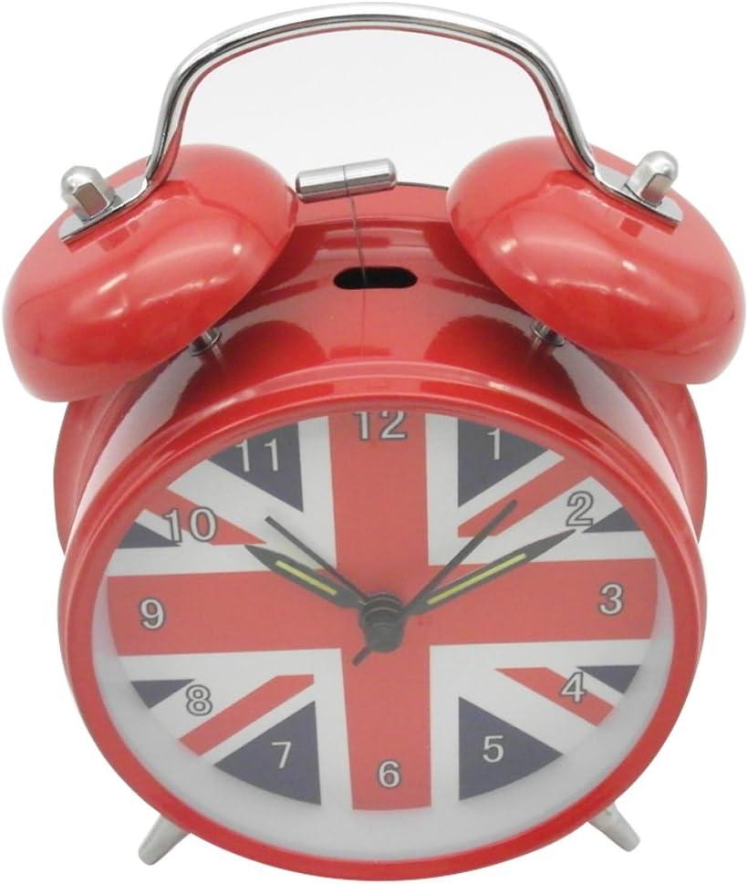 UK Flag Innolife 3 Quiet Non-Ticking Silent Quartz Analog Retro Vintage Bedside Twin Bell Alarm Clock with Loud Alarm and Nightlight