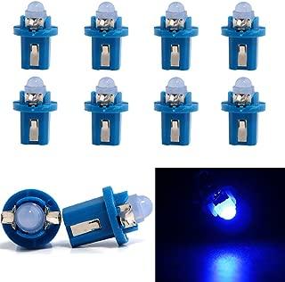 Grandview B8.5D Wedge Instrument Dashboard LED Light Bulbs 1 COB LED Climate Heater Controls Instrument Panel Gauge Cluster Light Blue (Pack of 10)