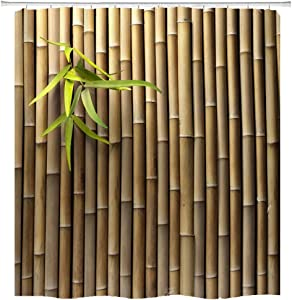hipaopao Bamboo 3D Printed Zen Spring Nature Fabric Shower Curtain Sets Bathroom Decor with Hooks Waterproof Washable 72 x 72 inches Brown Green