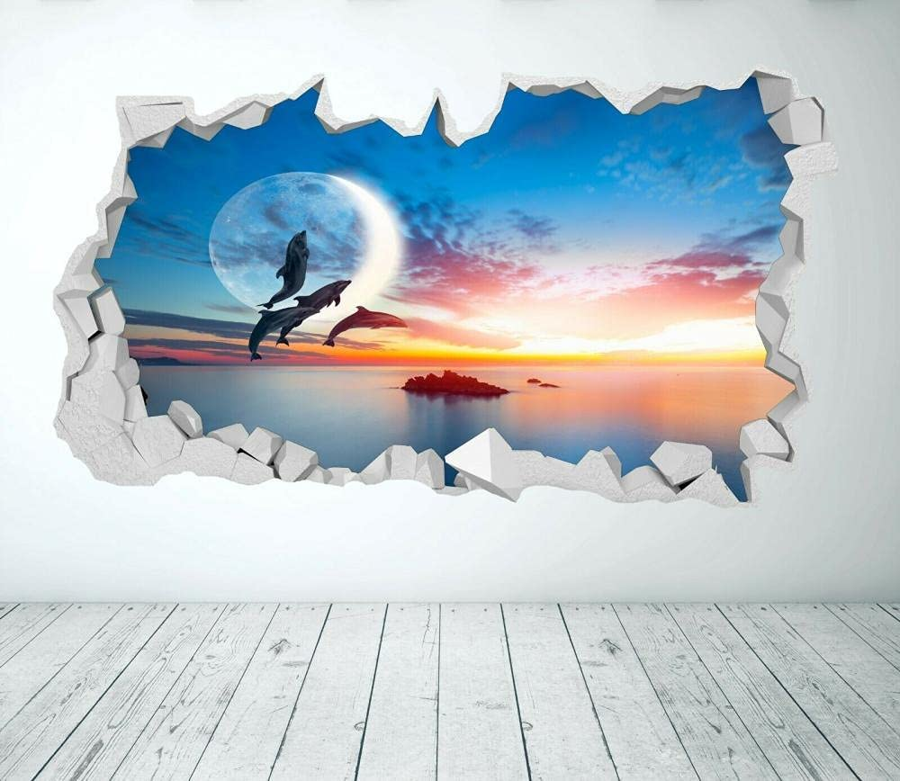 Dolphin Sunset Wall Sticker Max 90% OFF Sales results No. 1 3D Look Bedroom - Ocean SEA Paradise