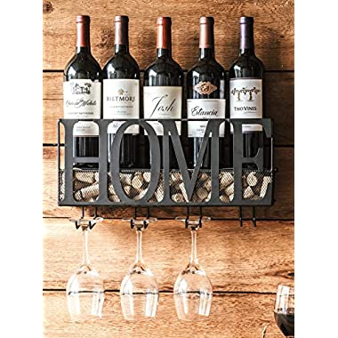 MKZ Products Wall Mounted Metal Wine Rack Bottle & Glass Holder Cork Storage