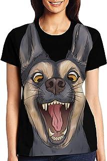 Tシャツ レディース ランニング 半袖Tシャツロゴ ベーシッククカットソー クルーネック 速干 ゆったり ワンポイント シンプル カジュアル ガールズ 動物のオオカミ犬ペット販売愚かな Black