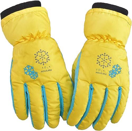 ciclismo GUOSHUFANG sci Guanti da sci per bambini per ragazzi e ragazze guanti da neve escursionismo impermeabili e antivento caldi guanti invernali per 6-11 anni nero