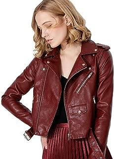 Ladies Leather Jacket, Fashionable Lapel PU Zipper Pocket Belt Slim Long Sleeve Motorcycle Leather Jacket,e,XL