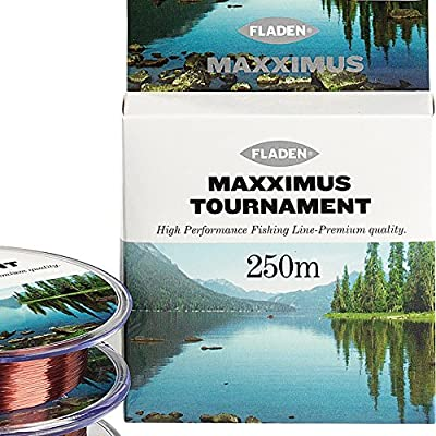 FLADEN MAXXIMUS TOURNAMENT 250m Spools of High Performance Co-polymer Coarse Fishing Line (Comes in Clear and Brown) - Breaking Strains 2.5, 3.4, 4.4, 5.5, 6.5, 8, 10, 15, 20, 25 and 30lbs by FLADEN