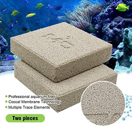 boxtech Aquarium Filter Media, Ceramic Biological Filter Media for Marine and Freshwater Fish Tank, Two Pcs