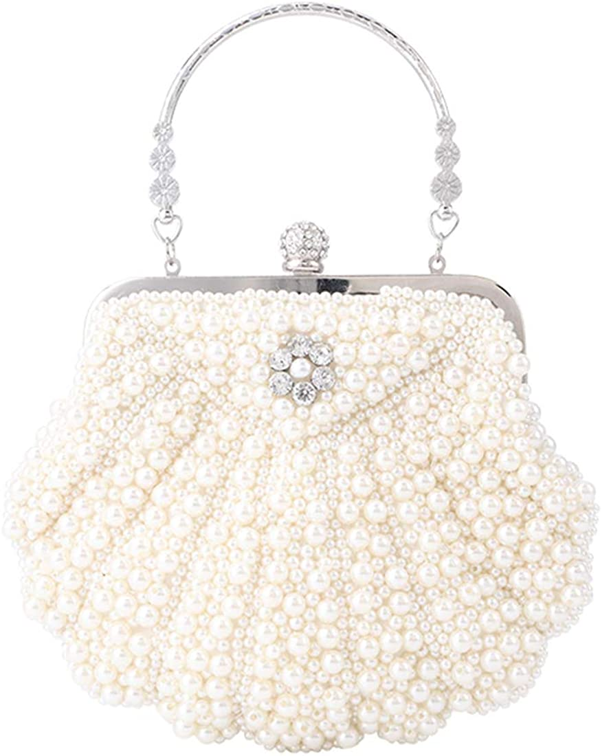 Women Shell Shape Pearl Rhinestone Purse Clutch Handbag for Cocktail Evening Party