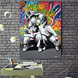 yaoxingfu Sin Marco Street Graffiti Art Pop Posters Kids Pictures Sweet Kiss Canvas ng Wall Art Pictures for Living RoomBedroom Hallway Sin Marco 40x60cm