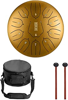 Niome Mini Tongue Drum Steel Pan Drum 11 Notes 10 Inches Percussion with Travel Bag (10INCH, Golden)