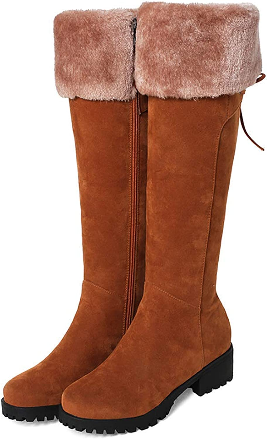 Womens Knee High Boots Chunky Low Heel Zipper Lace up Winter Faux Fur Suede Boots(0 0)