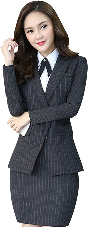 LISUEYNE Women's Three Pieces Office Lady Stripe Blazer Business Suit Set Women Suits Work Skirt Pant,Vest Jacket