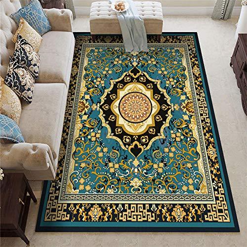 La alfombras alfombras Pelo Corto Fácil Limpio Azul Amarillo Negro diseño Floral Alfombra Antideslizante alfombras Pelo Corto Salon Alfombra de Pelo 60*90CM