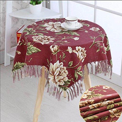 Luxueus rond tafelkleed met tuintafel. 120CM Rood