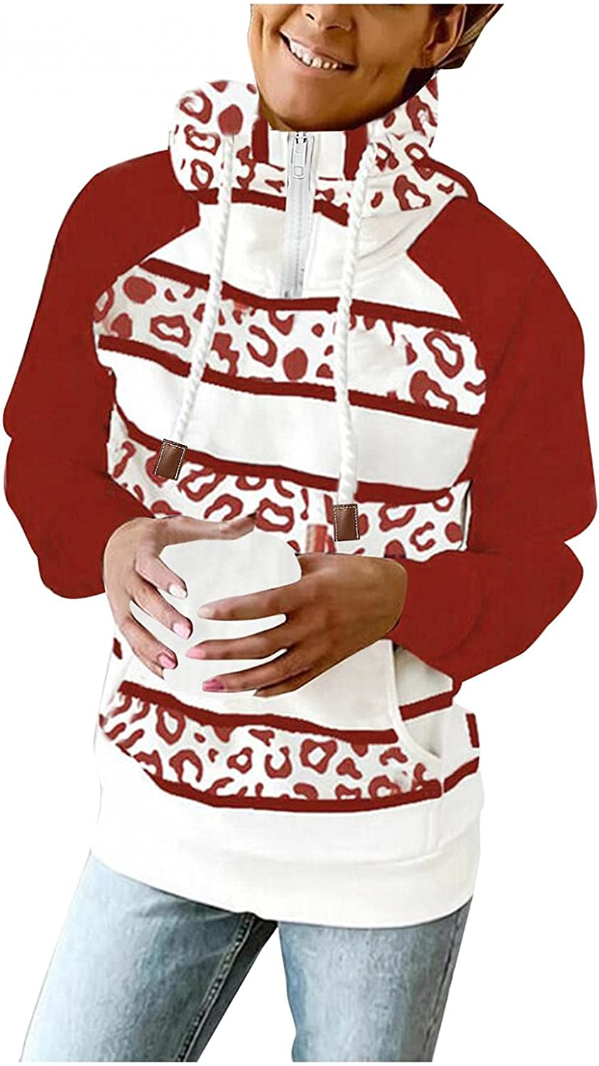 AODONG Hoodies for Women, Womens 1/4 Zip Up Hoodies Stripe Printed Long Sleeve Shirts Pullover Plus Size Fall Tops