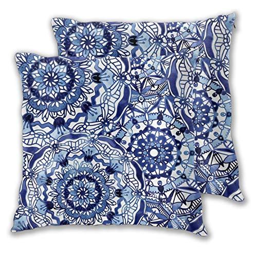 KCOUU Funda de cojín de microfibra suave decorativa Delft azul Mandalas funda de almohada cuadrada para sofá dormitorio con cremallera invisible 45,7 x 45,7 cm, juego de 2