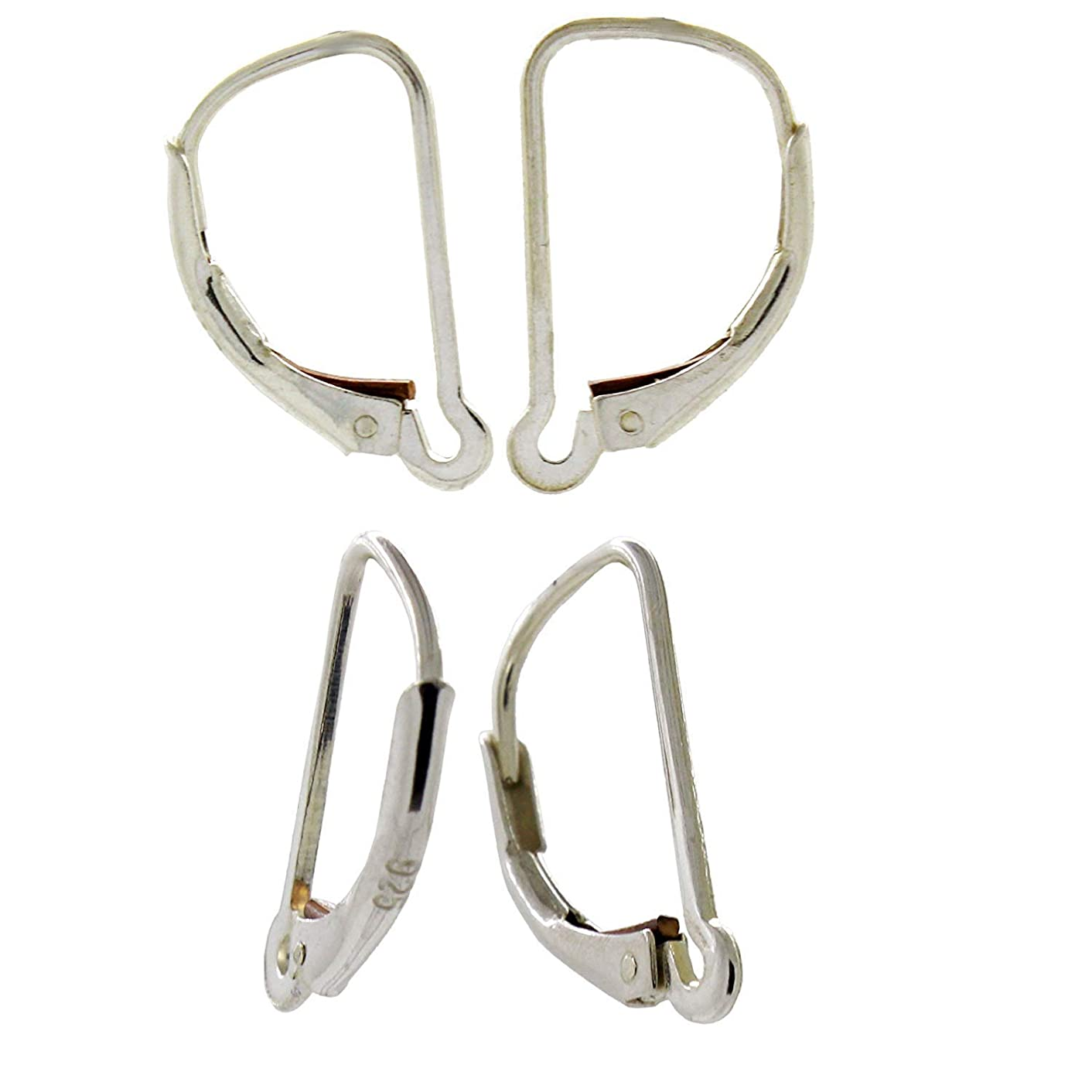 Sterling Silver Interchangeable Leverback Earring Wires with Closed Hoop