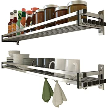 Pr/áctico Organizador de Especias Acero Inoxidable NWCH Especiero de Cocina Autoadhesivo 15x30cm