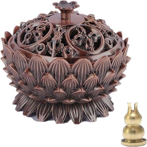 Zaoniy Incense Holder Burner Tibet Lotus Copper Alloy For Yoga Meditation Room Home Decor Lotus Red